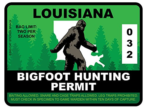 Bigfoot Hunting Permit - LOUISIANA (Bumper Sticker)