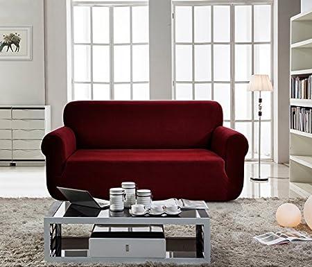 E EBETA Funda de sofá, Tejido Jacquard de poliéster y Elastano, Funda de Clic-clac elástica Cubiertas de sofá de 3 Plaza (Rojo Vino, 185-235 cm)