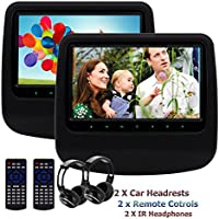 Dual Car Headrest DVD Player Eincar 9inch 800480 Screen Back-seat Monitor Built-in USB/SD HDMI Port IR FM Transmitter Wireless Headphones(Black)