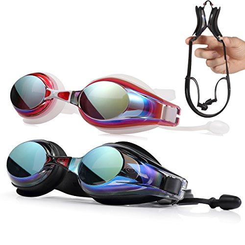FIRHEALTH Swim Goggles, Swimming Goggles with Earplugs, Anti Fog UV Protection No Leaking Non Slip Triathlon Swim Goggles with Free Protection Case for Adult Children Men Women and Kids (Black)