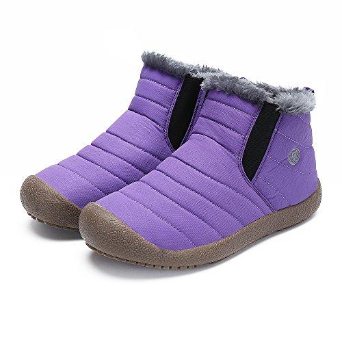 SAGUARO Herren Damen Winter Boots Outdoor Warm Gefüttert Schneestiefel Winterstiefel Lila