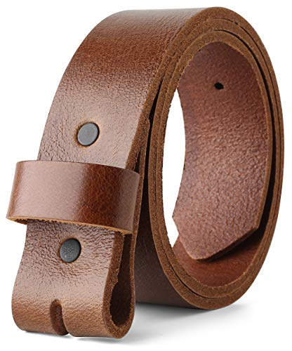 Belt for Buckles 100% Top Grain One Piece Leather, up to Size 62,1-1/2