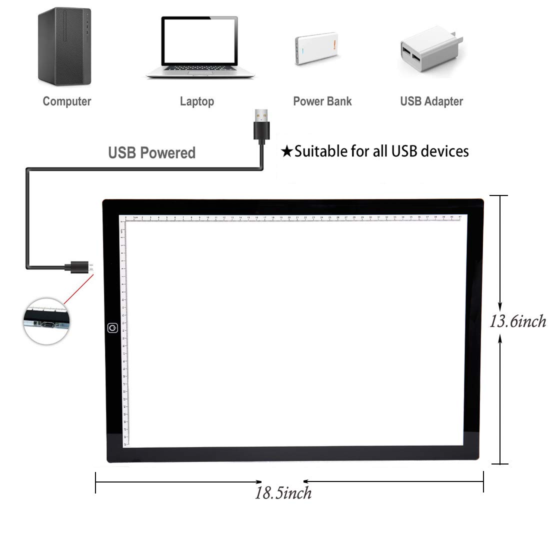 Upgrade Adjustable Brightness w//Ruler Tracing Light Box for Drawing SanerDirect Diamond Painting A3 LED Light Pad USB Powered Projector Kit with Clips