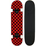 PRO Skateboard Complete Pre-Built CHECKER PATTERN 7.75 in Black/Red