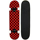 KPC Pro Skateboard Complete, Black and Red Checker