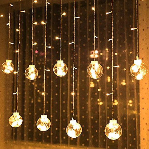 Isasar Led Bedroom Window String Light Interior Curtain Lights Wish Ball Teenage Dorm Room Decoration Light Romantic Atmosphere Lights Decoration for Christmas, Wedding, Party, Home, Patio Lawn (warm, With remote control)