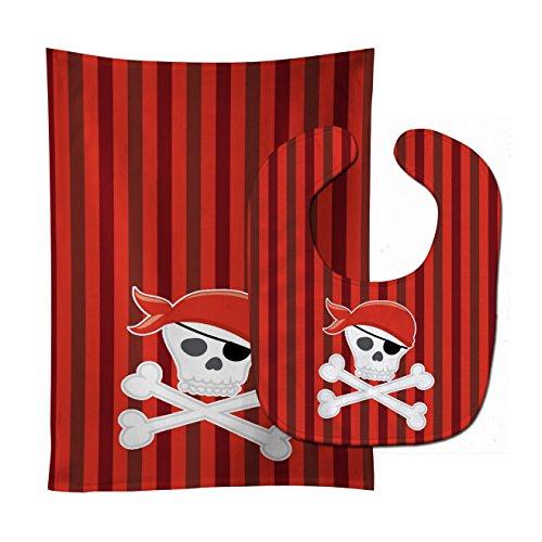 Caroline's Treasures Pirate Skull and Cross Bones Stripes Baby Bib & Burp Cloth, Multicolor, (Skull Burp Cloth)