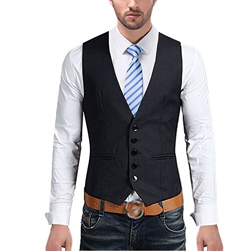 Slim Fit V-neck 5-Button Formal Sleeveless Business Suit Separate Waistcoat (Five Button Suit Vest)