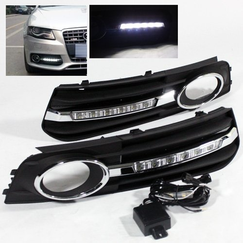 modifystreet 2009 2012 audi a4 b8 drl led fog light cover. Black Bedroom Furniture Sets. Home Design Ideas