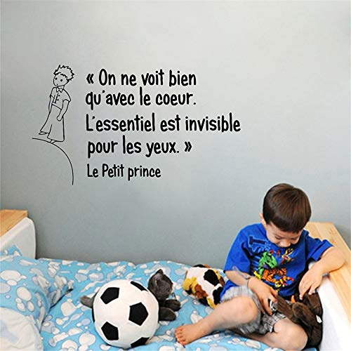 The Little Prince Wall Decal Franch Quote On ne voit bien qu'avec le Coeur Wall Decals Le Petit Prince Vinyl Stickers Decoration Nursery Kids Boys Baby Room Bedroom Wall Art Home Decor (On Ne Voit Bien Qu Avec Le Coeur)