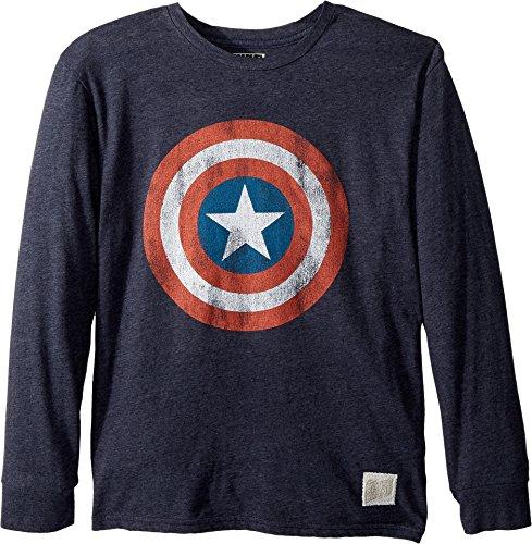 The Original Retro Brand Kids Boy's Captain America Long Sleeve Tri-Blend Tee (Big Kids) Streaky Navy X-Large