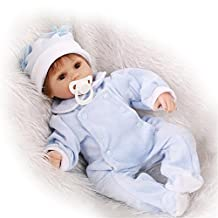 Soft Newborn Nurturing Baby Dolls 100% Handmade Lifelike Reborn Baby Realistic Boys Doll For Children Birthday Gift,Blue Eyes?17 Inches About 42Cm for Patients with Anxiety Disorder