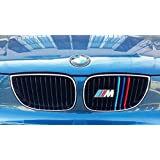B M W 3 Series E46 2001-2005 11 Bars Bonnet Hood Radiator Grill Stripes Slat Covers Inserts Trim Clips M Power Sport Performance Tech Paket Colour Grilles Badge