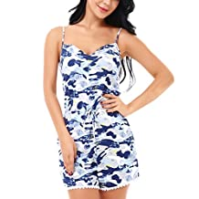 Yulee Womens Cotton Chemise One Piece Rompers Jumpsuit Playsuit Sleepwear S-XXL