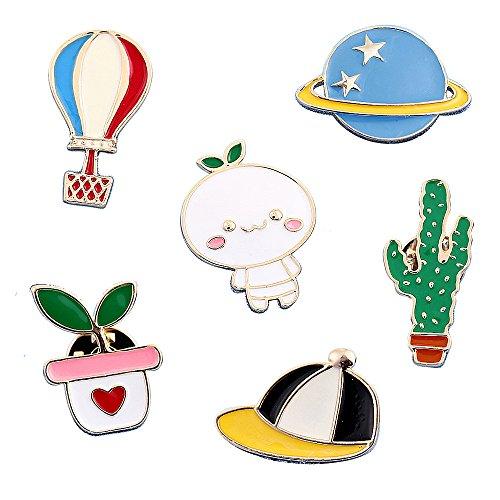 Cute Enamel Lapel Pins Sets Cartoon Animal Plant Fruits Foods Brooches Pin Badges for Clothing Bags Backpacks Jackets Hat DIY (Hot air balloon baseball cap cactus potted planet set of 6)