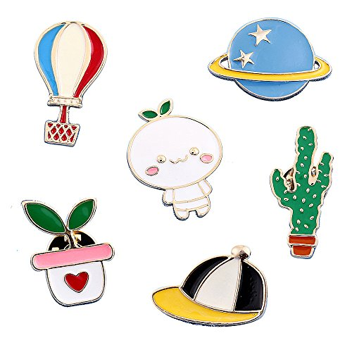 Cute Enamel Lapel Pins Sets Cartoon Animal Plant Fruits Foods Brooches Pin Badges for Clothing Bags Backpacks Jackets Hat DIY (Hot air balloon baseball cap cactus potted planet set of 6)