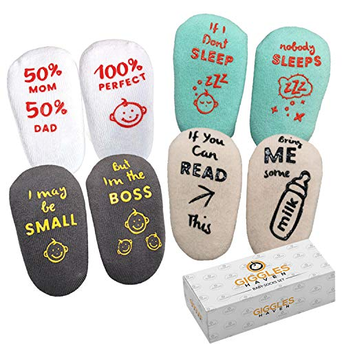 Baby Socks 4-Pair Gift Set – Infant Essentials with Funny Sayings – Non-Skid Gripper Socks to Prevent Slip or Fall…