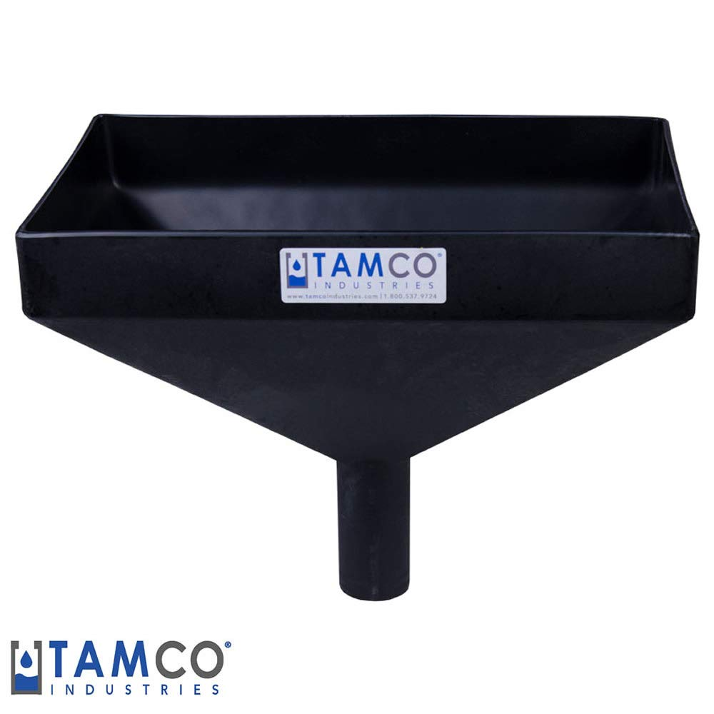 16'' x 10'' Rectangular Black Tamco Linear Low Density Plastic Funnel with 2'' OD Center Spout (1 Funnel)