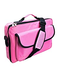 """Lotsaveoutlet 18"""" 18.4"""" 18 18.4 Inch XL Pink Laptop Bag Notebook Bag Classic Series compartment Studio Slim Foam Carrying Messenger Bag Sleeve 1680D Nylon Case Briefcase Holder Pink Padded For Apple Macbook Macbook Air Macbook Pro Retina HP IBM Dell Latitude XPS Acer Alienware Sony Ultrabook"""