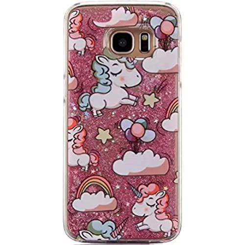 Galaxy S7 Luck Curly Hair Unicorn Sand Shell, OMORRO New Attractive Curly Horse Shiny Flowing Floating QuickSand Sand Dynamic Moving Liquid Stars Sales