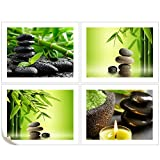 VVOVV Wall Decor - 4 Piece Canvas Wall Art HD Prints Green Bamboo In Water Zen Spa Stone Home Decor Painting Modern Decoration For Living Room 30x40cmx4pcs,Unframe