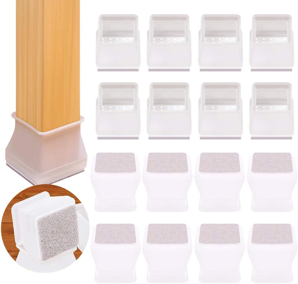 Chair Leg Caps, Silicone Chair Leg Protectors Cover for Hardwood, Floors Furniture Table Feet Covers with Felt Pads, Fit Square