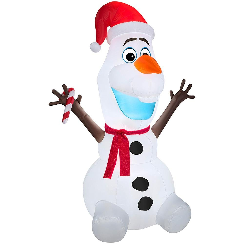 Olaf Wearing Santa Hat and Holding Candy Cane, Christmas Decoration Props, 6-foot Tall