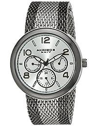 Akribos XXIV Women's AK559BK Quartz Multi-Function Stainless Steel Mesh Bracelet Watch