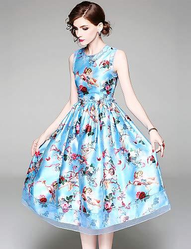 Blue righe Abito stampa elegante YFLTZ vintage floreale a donna da aCnPFq7