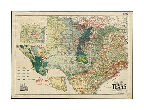 Oil Gas Map (1917–1920 Map Texas Gallup's of Texas New oil and geological Map |of Texas : showing oil fields, pip)