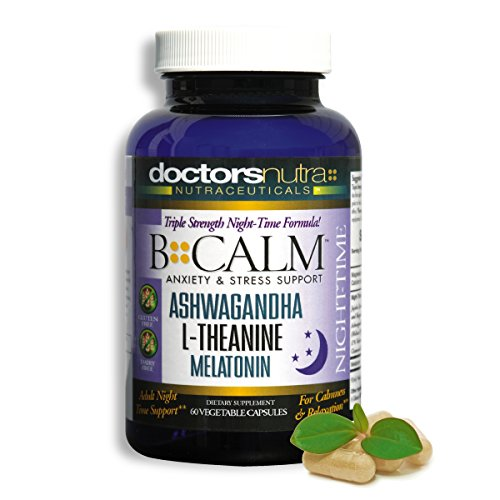 All Natural Night-Time Anxiety Relief, Stress Support | with Ashwagangha, Melatonin and much more | All While Supporting a Peaceful Nights Sleep | B-CALM-PM Night-Time Sleep Aid | 30 Servings