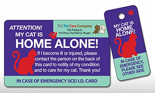 TLC Safety By Design My CAT is Home Alone Pet Alert Emergency ICE ID Plastic Wallet Card and Keytag with Emergency…