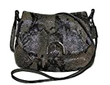 Coach Soho Leather Exotic Python Flap Swingpack Crossbody Bag 45648 Black Grey