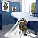 alisoso African Woman Long Bathroom Accessories Set Black Girl in a Traditional Dress Performing an Ethnic Dance Native Zulu Design Custom towel set Multicolor