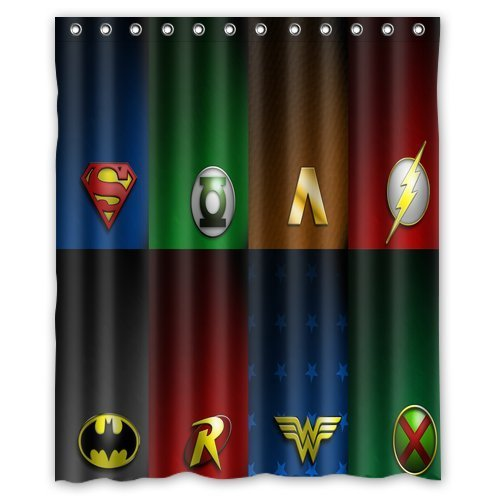 Aloundi Custom Justice League Logo Waterproof Anti Shower Curtain Polyester Fabric Bathroom Shower Curtains