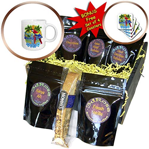 3dRose MacDonald Creative Studios - Islands - Im On Island Time with parrot perched on surfboards and a sunset. - Coffee Gift Baskets - Coffee Gift Basket (cgb_299258_1)