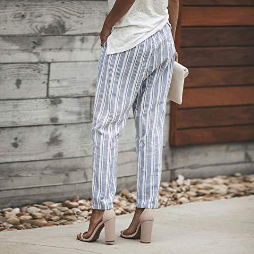 Lunghezza Blu Alta Stampare Strisce SUMTTER Pantaloni Casuale Donne Vita Jeans HqTwqI06z