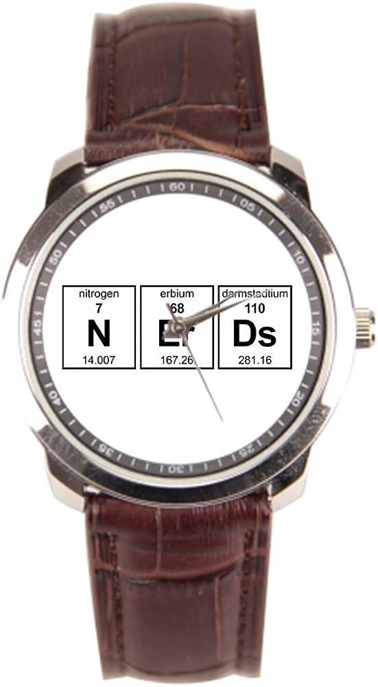 sjfy para hombre muñeca relojes caja de reloj de piel Nerdy Geek ...