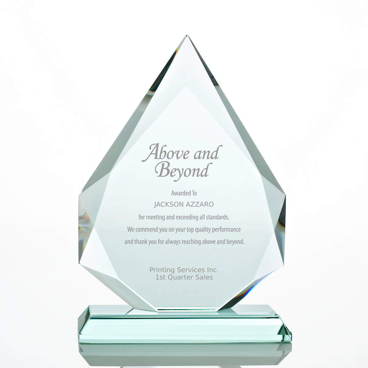 Baudville Engraved Trophy - Jade Glass - Award for Employees - Peak Shaped - Personalized Engraving Up to Three Lines and Pre-Written Verse Selection - Comes in Gift Box by Baudville