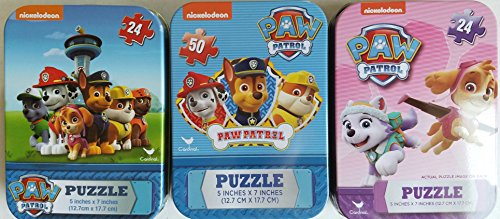 3 Collectible Girls/Boys Mini Jigsaw Puzzles in Travel Tin Cases: Nickelodeon Kids Three Paw Patrol Gift Set Bundle (24/50 Pieces) by Cardianal Industries