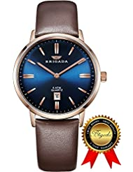 BRIGADA Blue Swiss Watches for Men, Nice Blue Dial Brown Band Business Casual Waterproof Mens Watch, Great Gift...