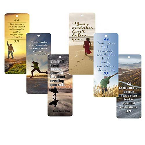 NewEights Inspirational Bookmarks Cards (60-Pack) for Inspiring and Encouraging Men and Women Great Motivational Give Away