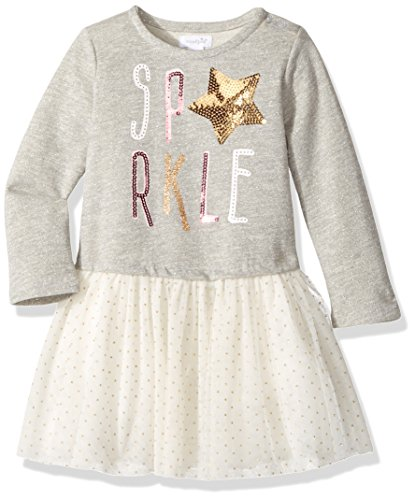 Mud Pie Baby Girls' Toddler Holiday Sparkle Long Sleeve Glitter Tutu Dress, Gray, 3T (Mud Pie Dresses Girls 3t)