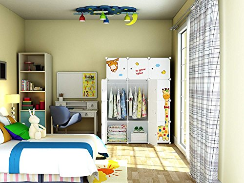 KOUSI Kids Dresser Kids Closet Portable Closet Wardrobe Children Bedroom Armoire Clothes Storage Cube Organizer, White with Cute Animal Door, Safety & Large & Sturdy, 6 Cubes & 2 Hanging Sections