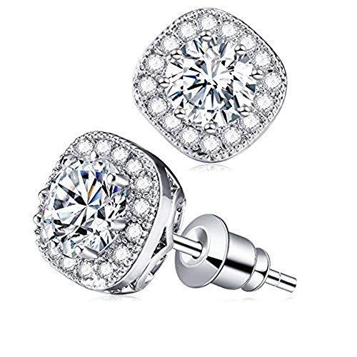 Cubic Zirconia Stud Earrings, Cat Eye Jewels S925 Sterling Silver Round Diamond Crystal Halo Earring (Silver)