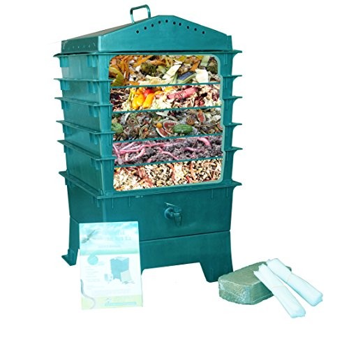 Cheap  VermiHut 5-Tray Worm Compost Bin, Dark Green