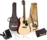Ibanez 6 String Acoustic Guitar Pack, Right Handed, Natural Gloss