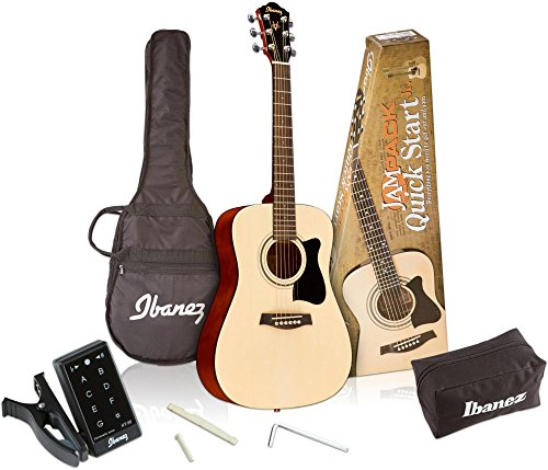 (Ibanez 6 String Acoustic Guitar Pack, Right Handed, Natural Gloss (IJV30))