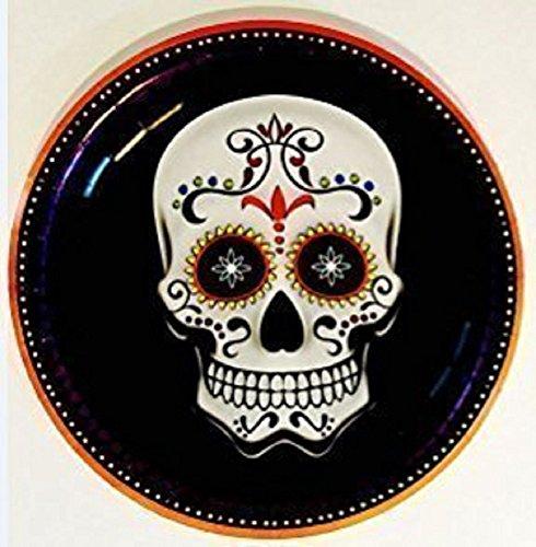 Halloween Day of the Dead Skull Paper Plates Dinner or Dessert size (36, 6.75