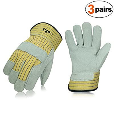 Vgo Glove Cow Split Leather Palm Work Gloves (3 Pairs, 10.5/L)